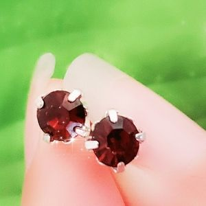 Jewelry - #1259 Silver Studded Earrings Brown Crystal Amber